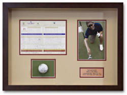 Custom framed golf hole in one shadowbox display case
